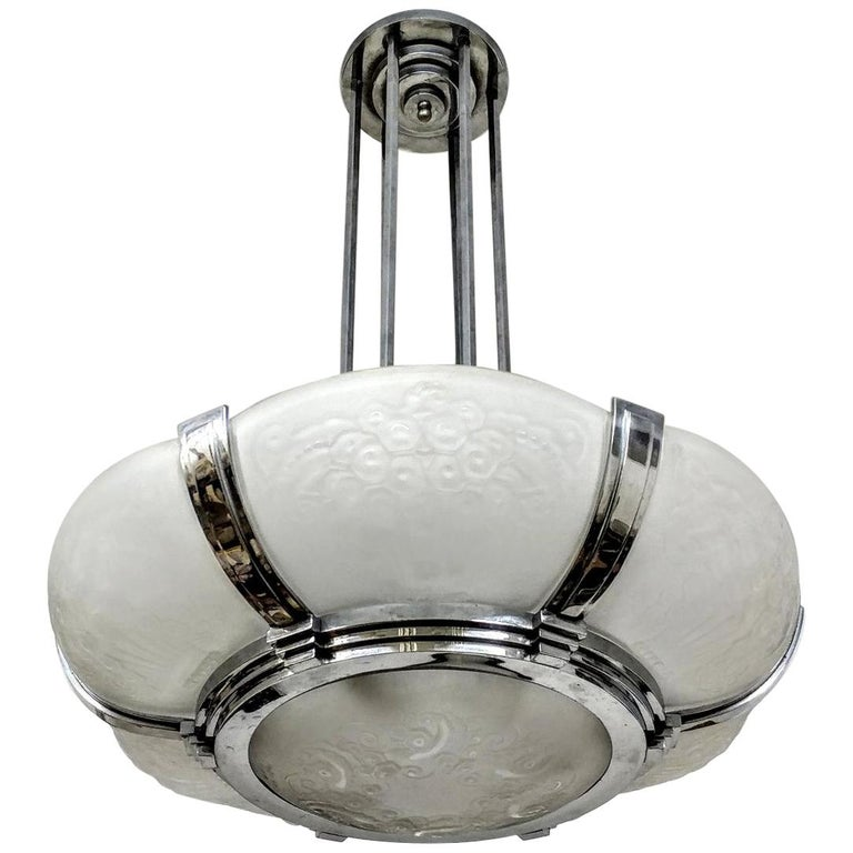 French Art Deco Chandelier Signed by Muller Freres Luneville For Sale