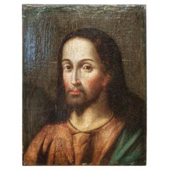 17th Century Oil on Canvas Jesus Christ Portrait