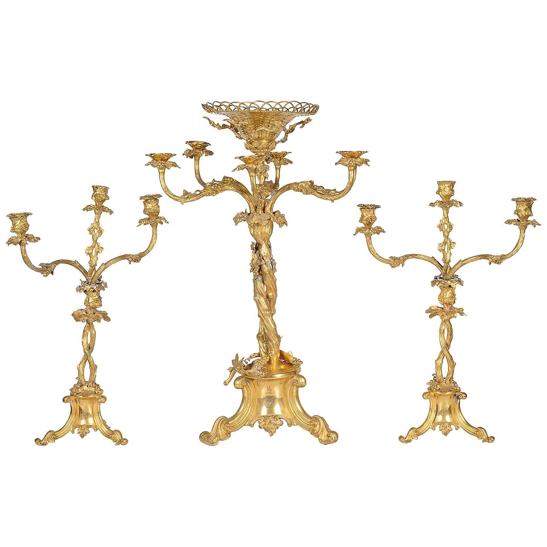 Large 19th Century Gilded Candelabra Garniture