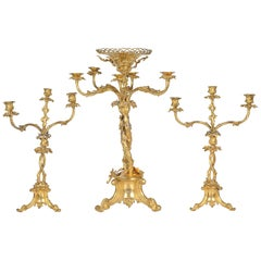 Large 19th Century Gilded Candelabra Garniture