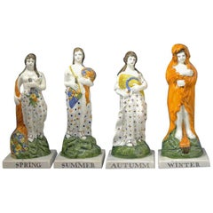 Set of the Four Seasons by Dixon Austin of Sunderland Prattware Colors