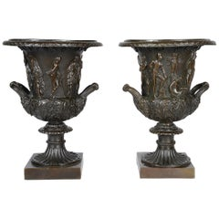 Pair 19th Century Style Classical Bronze Urns