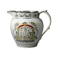 Staffordshire Pottery Pitcher with Silver Luster Decoration, Early 19th Century