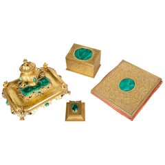 19th Century Gilded Ormolu and Malachite Desk Set