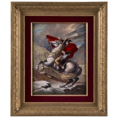 Enamel Plaque Depicting Napoleon Crossing the Alps, by Camille Fauré, circa 1930