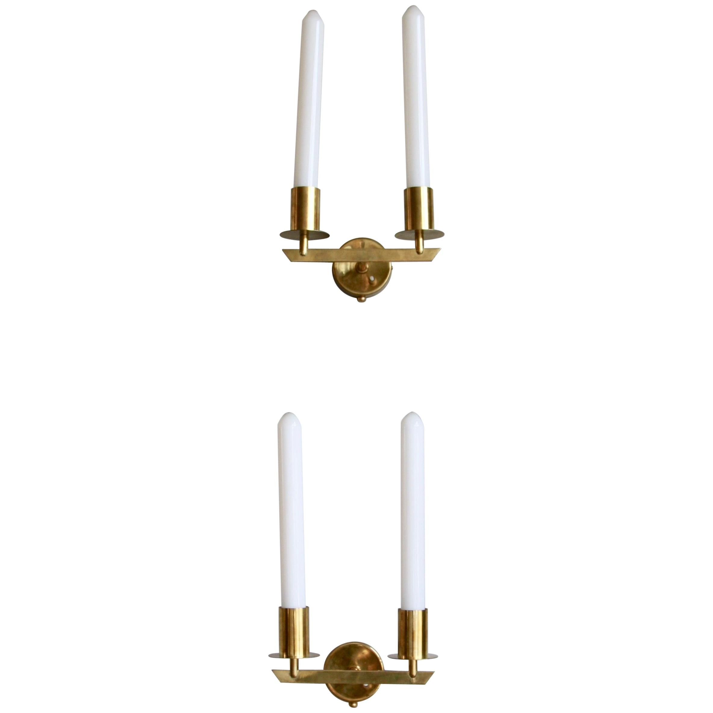Pair of Wall Sconces in Brass Designed and Made by Itsu Oy, Finland, circa 1950