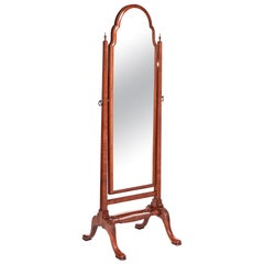 Fine Quality Antique Walnut Cheval Mirror