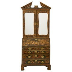 18th Century Green Japanned Bureau Bookcase Attributed to Giles Grendey