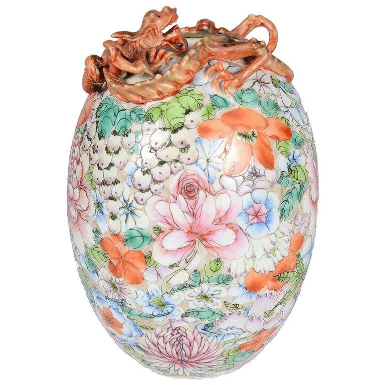 Chinese Millie Fleur Porcelain Vase, circa 1910 For Sale
