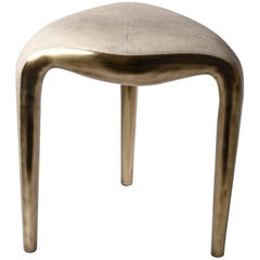 Sigorney Stool in Cream Shagreen and Bronze-Patina Brass by R&Y Augousti
