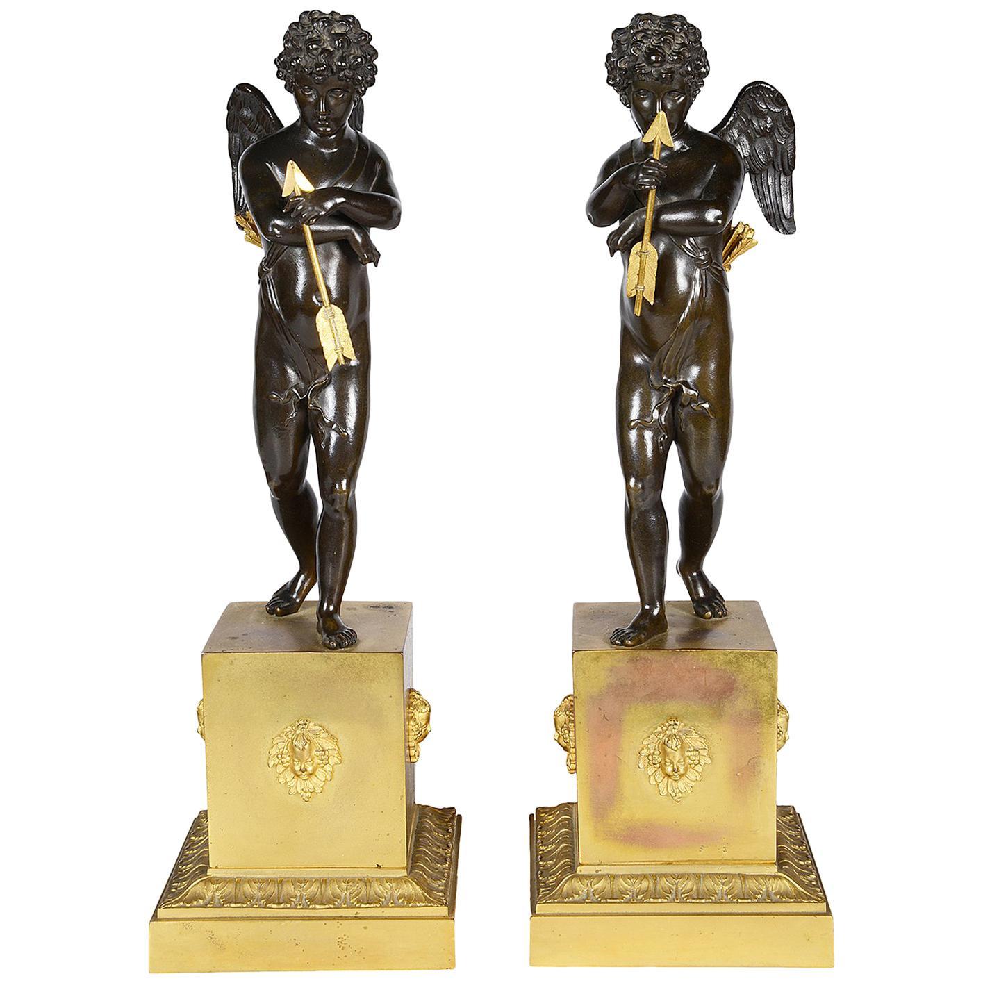Pair of Early 19th Century Bronze Cherubs