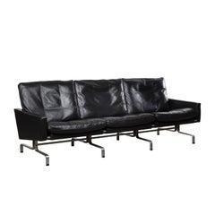 Poul Kjaerholm PK31 Sofa in Black Leather for E Kold Christensen, Denmark