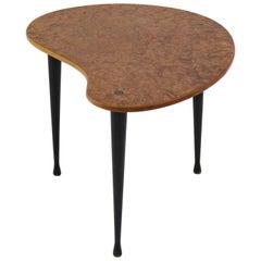 "Scandinavian Midcentury Side Table ""Palett"" By Yngve Ekström, Elm Root and Brass"