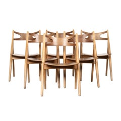 Hans J. Wegner Sawbuck Chairs Set of 6 Model Ch29 for Carl Hansen, Denmark, 1966