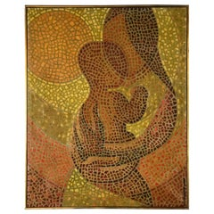 Madonna Mother & Child Mosaic Painting by Olav Mathiesen, Oil on Canvas, 1963