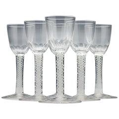 Set of Six 19th Century Opaque Twist Liqueur Glasses; circa 1860