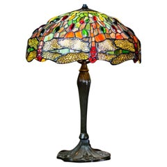 20th Century Stained Glass Lamp In Style Of Tiffany And Co For Sale