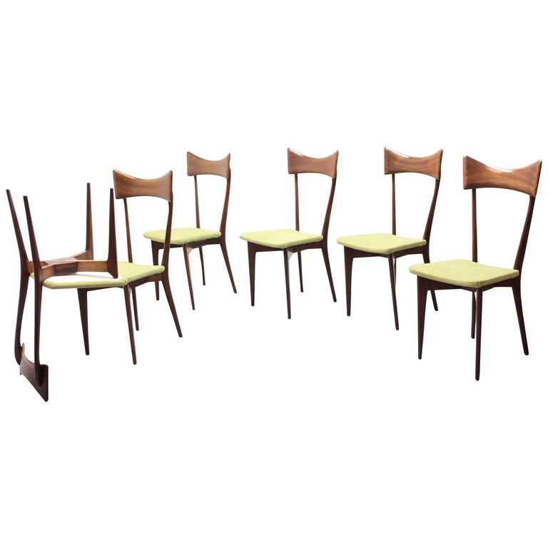 Set of 6 Dining Chairs, Ico Parisi and Luisa Parisi Design for Ariberto Colombo For Sale