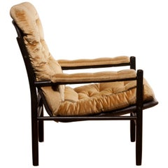 1970s, Gold Velours Lounge Chair by Kenneth Bergenblad for DUX, Sweden
