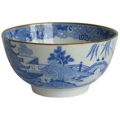Miles Mason Porcelain Bowl Blue and White Broseley Pattern, English, circa 1805