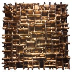 Contemporary Art, Minimal and Zero Art, Acrylic Fiber Weave Sculpture Gold