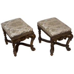 Pair of Outstanding Celebratory Stools Louis XV Style/Period, Italy
