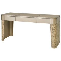 Batiful Vanity Unit Toeletta Desk Lacquered, External Legs in Tiny Mosaic