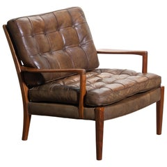 """1960s Walnut / Leather Easy / Lounge Chair Model """"Loven"""" by Arne Norell Sweden"""
