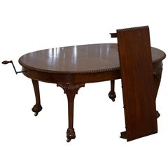 1920s Solid Walnut Extending Dining Table Large Claw and Ball Feet Seats 4 to 8