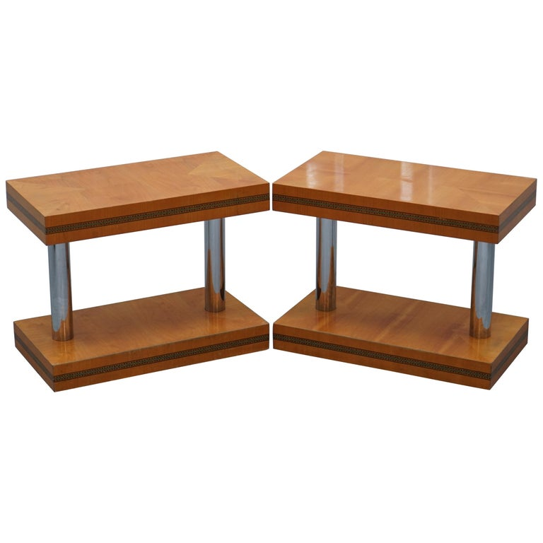 Pair of Mid-Century Modern Chrome-Plated & Satinwood Side End Wine Lamp Tables For Sale