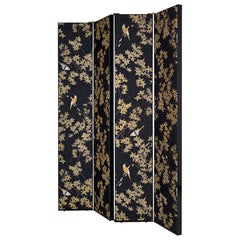 Beatiful Separe' in solid wood lacquered Bronze or Chrome Hinges Fabric
