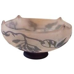 Gallé France Art Nouveau Floral Glass Purple Vase, 1920s