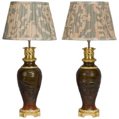 Fine Pair of Japanese Patinated Bronze Vases Mounted as Lamps, circa 1900