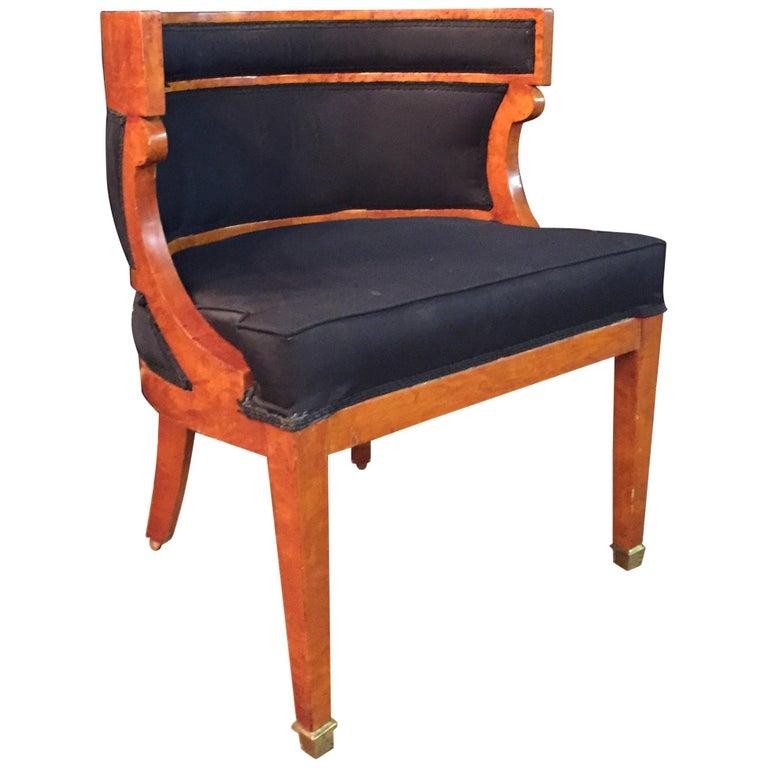 Unique Armchairs: Unique Armchair With Wide Rounds Lean Biedermeier Style