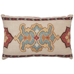 Schumacher Temara Embroidered Print Pillow in Spice, Light Doe Backing