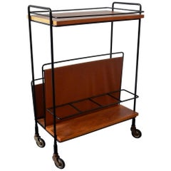 Vintage Bar Cart or Serving Trolley with Magazine Rack, 1960s