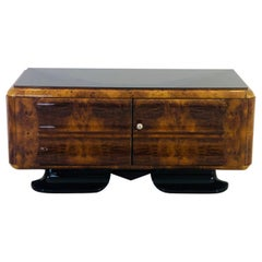 1930s Art Deco Low Commode with Curved Walnut Front