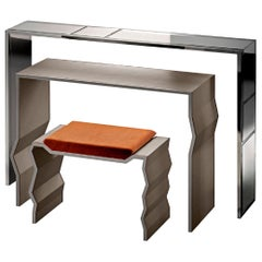 Fantastic Console Made of Three Units in Stainless Steel Smoked Mirror Leather