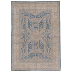 Blue Hand Knotted Tribal Afghan Carpet