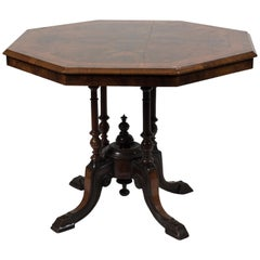Ancient Wooden Octagonal Tea Table, England End of 19th Century