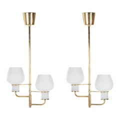 Pair of Midcentury Bent Karlby 'Attributed' Brass Ceiling Lamps, Denmark, 1950s
