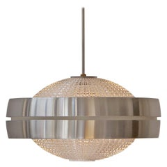 Four Raak Ufo Shaped Pendant Lights in Glass and Aluminum