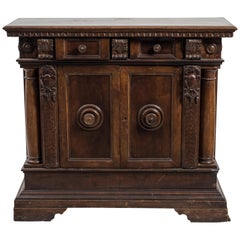 Ancient Sideboard in Walnut, Italy, End of the 19th Century