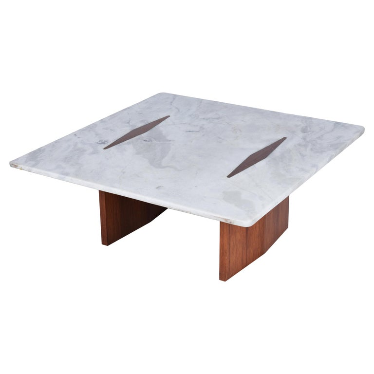 Jorge Zalszupin Midcentury Brazilian Center Table with Marble Top, 1960s For Sale