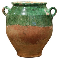 Rare 19th Century Green Glazed Pottery Confit Pot from Southwest France