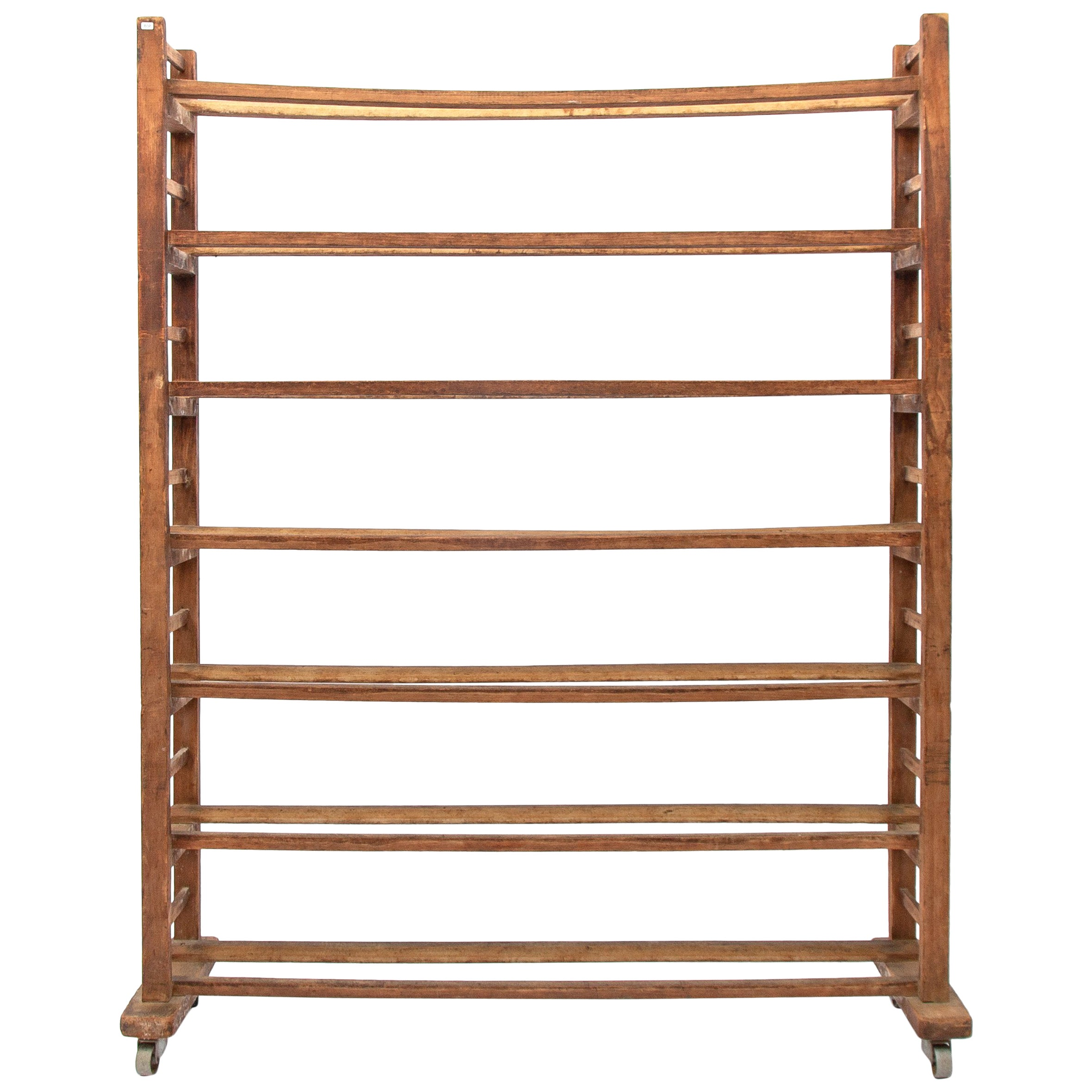 Original Dutch 20th Century Decorative Wooden Seven Shelf Bread Rack