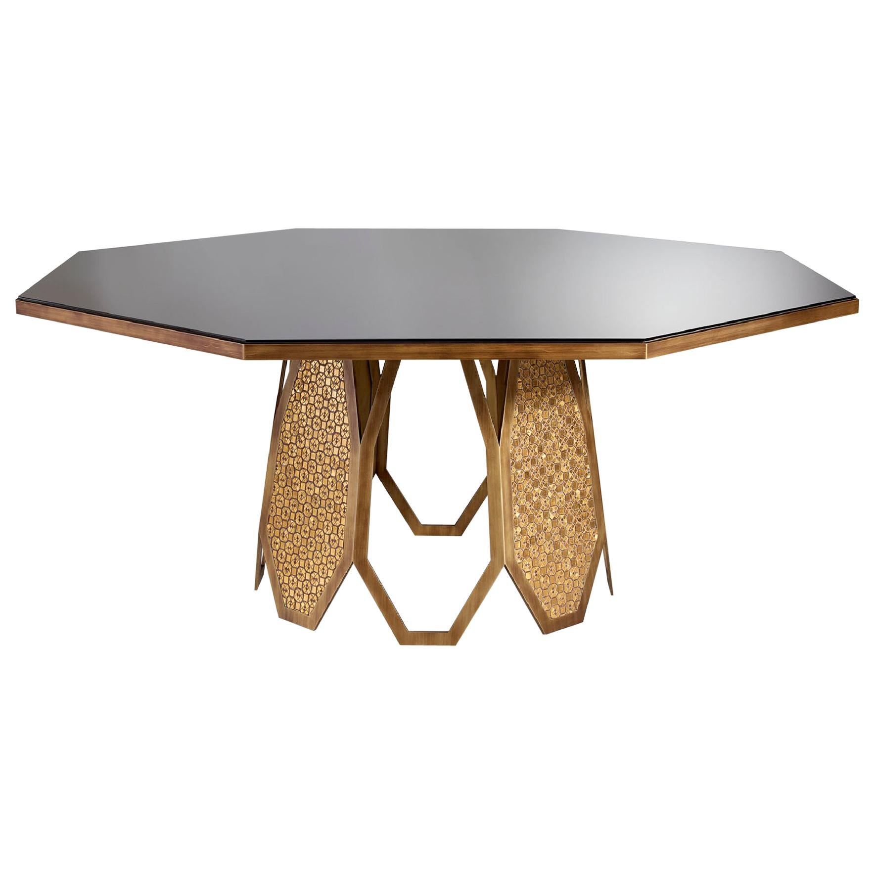Fantastic Table Base in Stainless Steel Antique Bronze and Silver Finish Mosaic