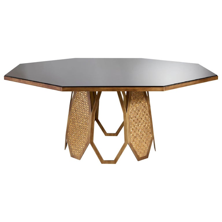 Fantastic Table Base in Stainless Steel Antique Bronze and Silver Finish Mosaic For Sale