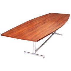 Huge Walnut & Chrome Mid-Century Modern Conference Table by Hugh Acton for Vecta