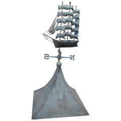 1950s Copper Cupola with Sailing Ship Weather Vane